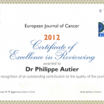 Phillipe Autier receives certificate of excellence